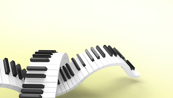 Piano keyboard Musical Art Concept Art on Pastel Yellow Background - 3d rendering