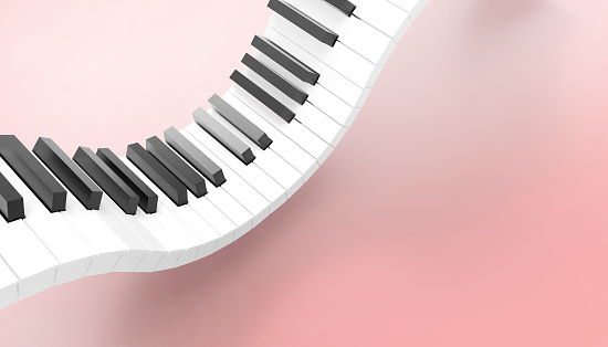 Piano keyboard Musical Art Concept on Pastel Pink Background - 3d rendering