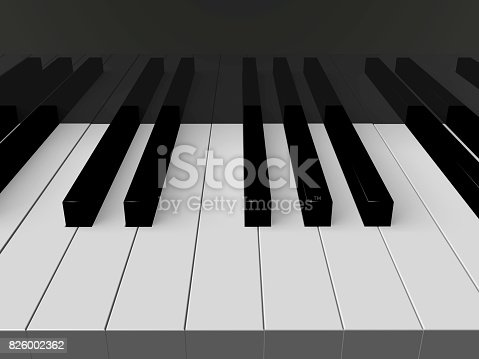 3d render of a Piano keyboard. Musical concept