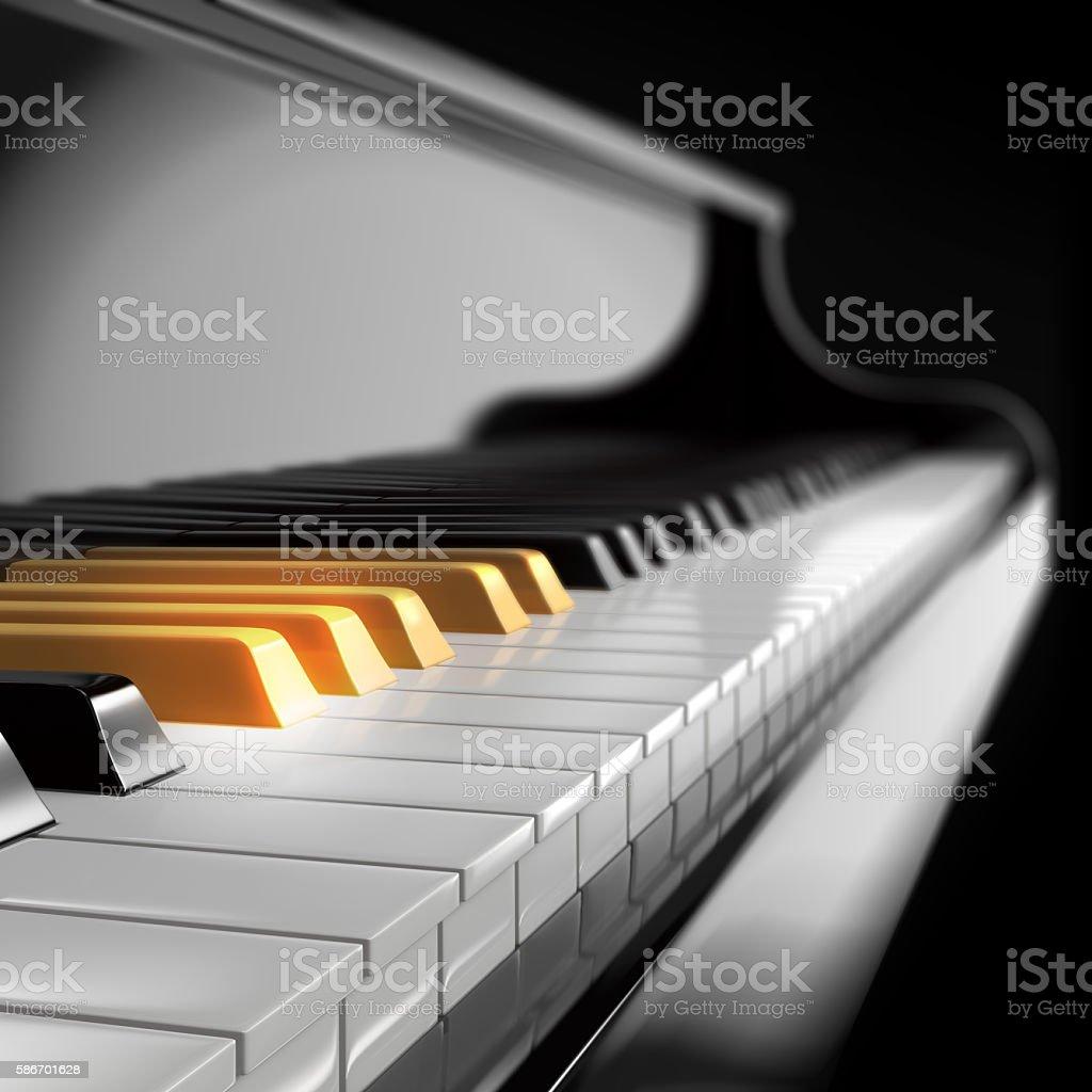 piano keyboard with golden keys stock photo