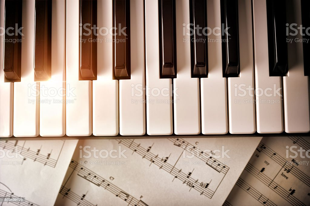 All Music Chords golden sheet music : Piano Keyboard With Golden Shine And Sheet Music Top View stock ...