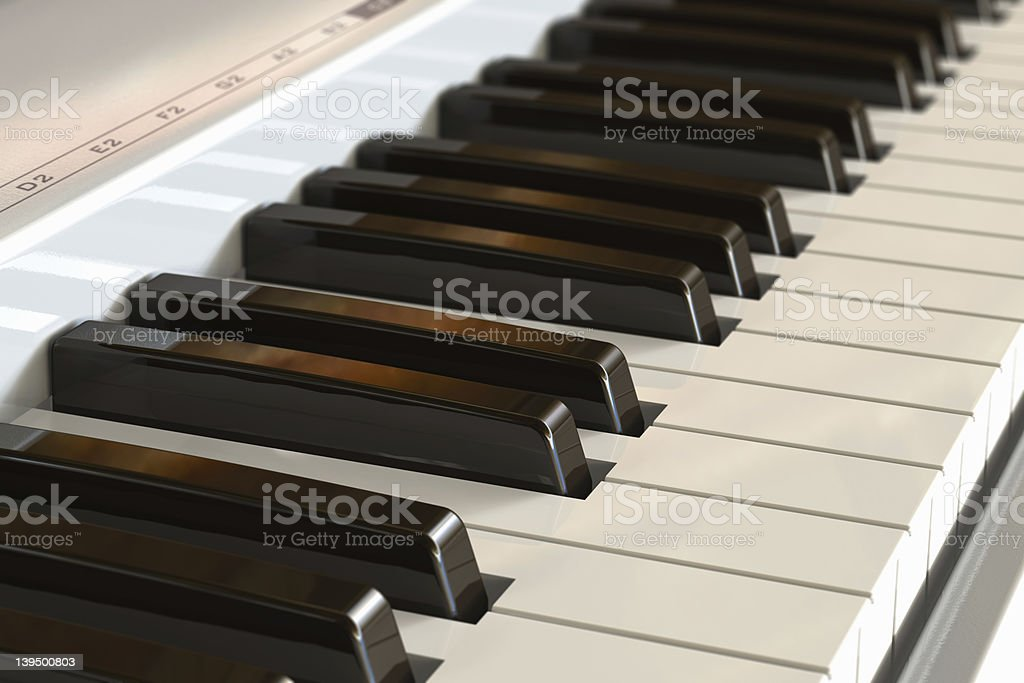 Piano keyboard with selective focus effect stock photo