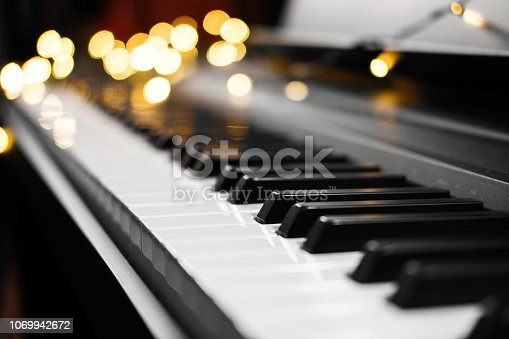 piano keys bokeh on background