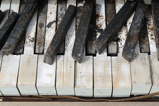 Piano Keys Close Up, Abandoned and Broken