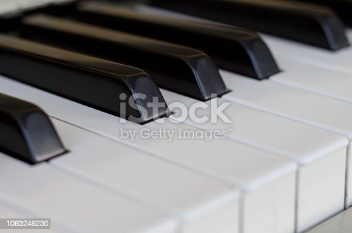 istock Piano keys close up, side view 1063246230