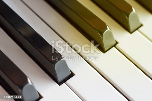 istock Piano keys close up, side view, toned 1063246144