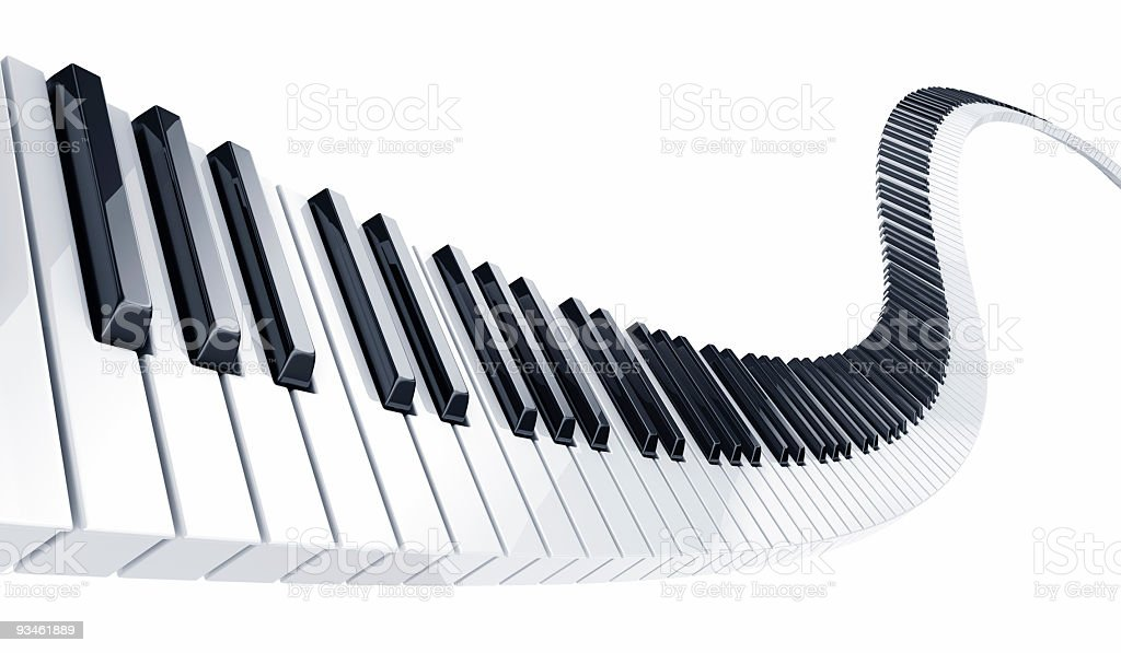 Piano keys in endless wave on white background stock photo