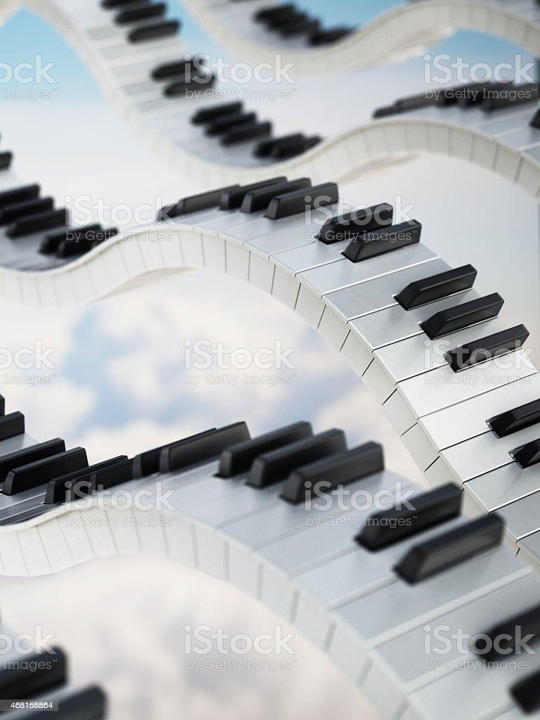 Piano keys in the sky stock photo