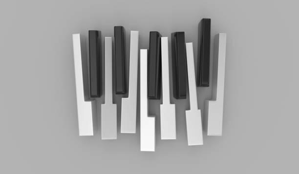 Touches du piano isolés sur le fond gris - Photo