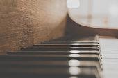piano keys closeup - vintage piano macro