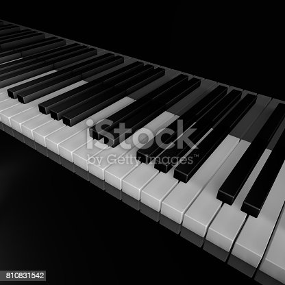 istock Piano keys of music device close frontal view 3d rendrer illustration 810831542