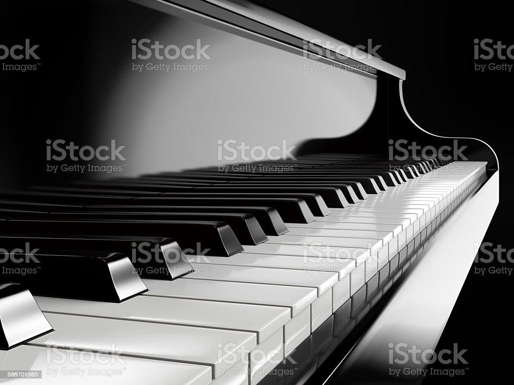 piano keys on black piano stock photo