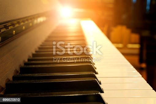 istock Piano keys on wooden musical instrument 699520510