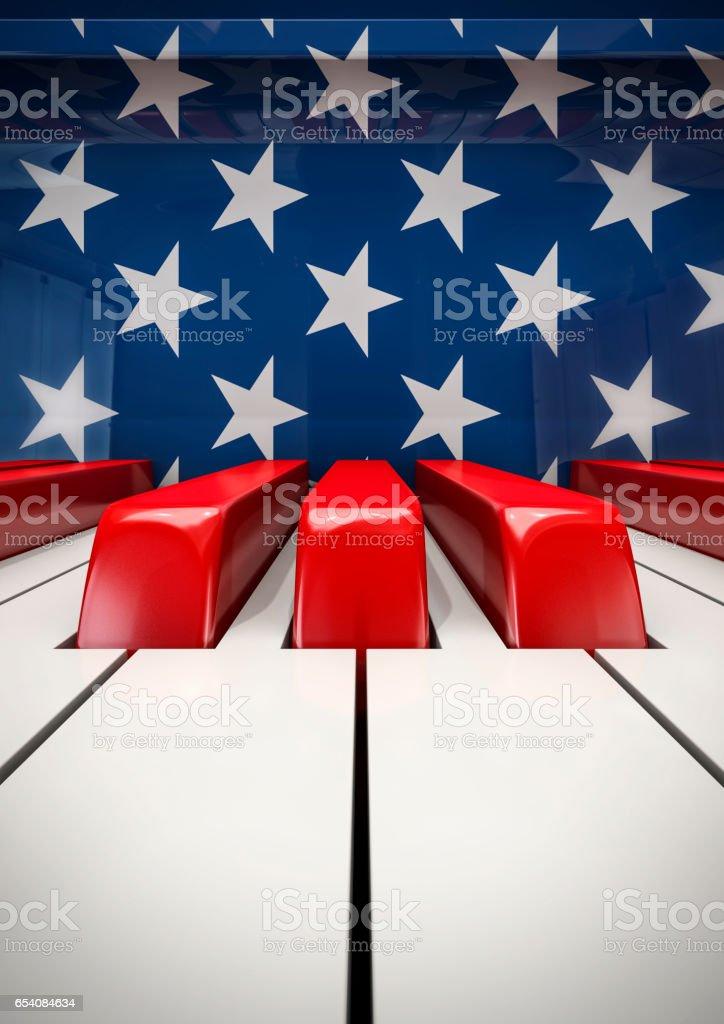 Piano keys USA stock photo