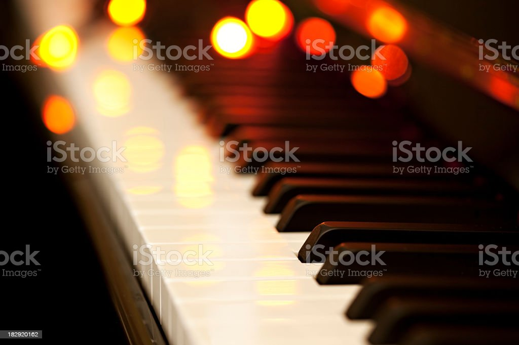 Piano keys with bokeh stock photo