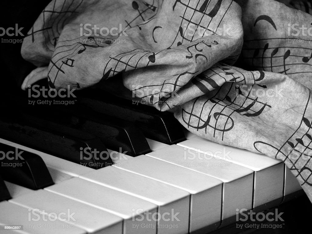 Piano keys with scrunched music B&W stock photo