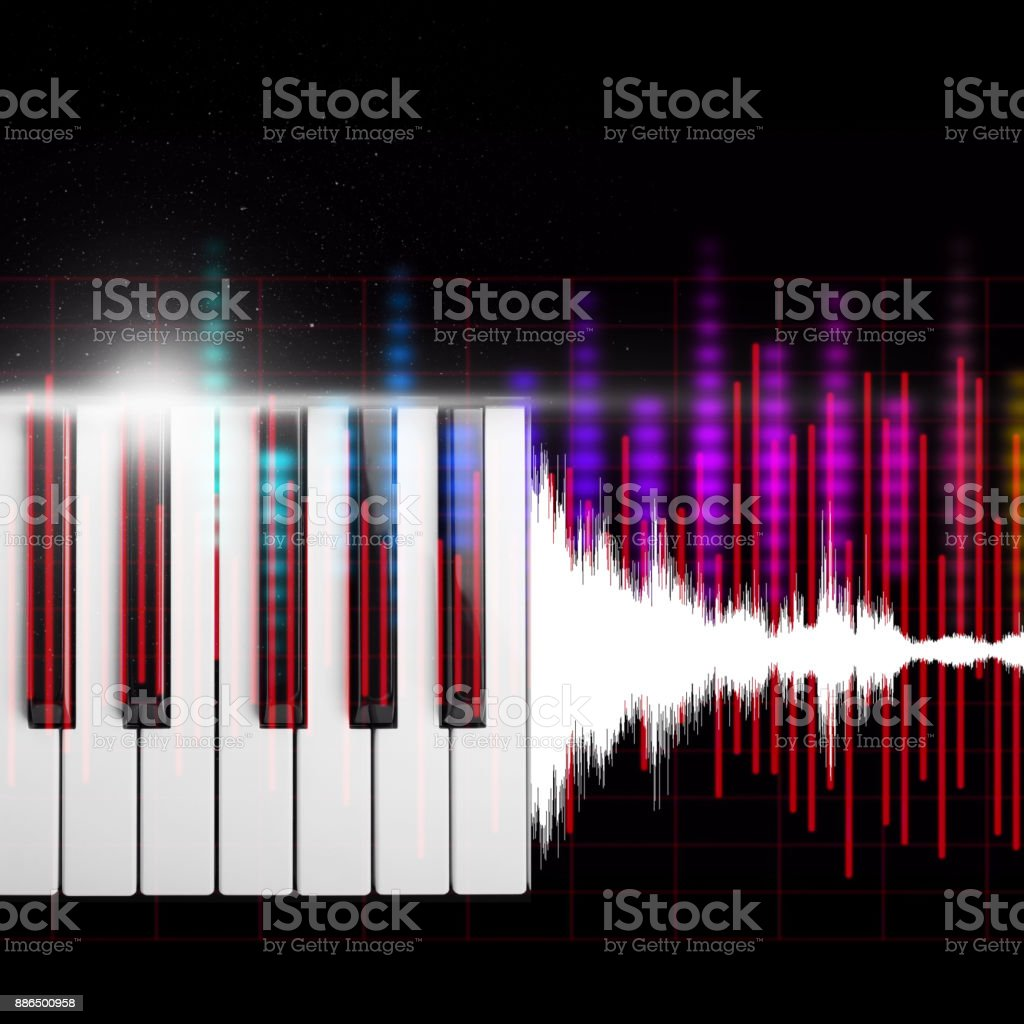 piano keys with waveform & colorful audio level meter. music background stock photo