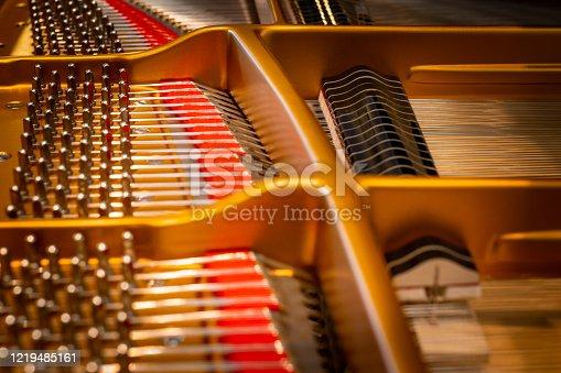 The interior of a piano