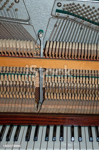 A crafstman holding a hand after working with repairs of the inside mechanism of an upright piano. Black and white keys, hammers and string tuning in the background.