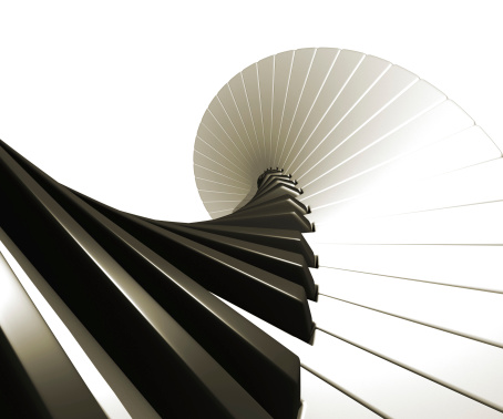 Piano - 3d , notes spiralling away