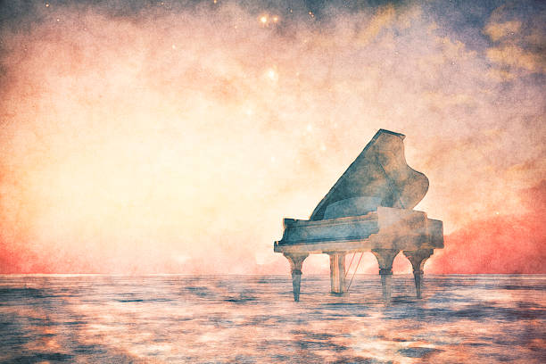Piano standing in fantasy landscape Piano standing in fantasy landscape. classical style stock pictures, royalty-free photos & images