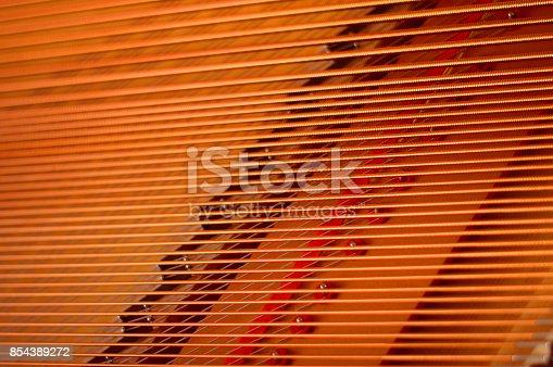 Piano strings, close up, macro