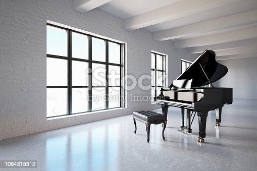 Black Pianoin empty white warehouse