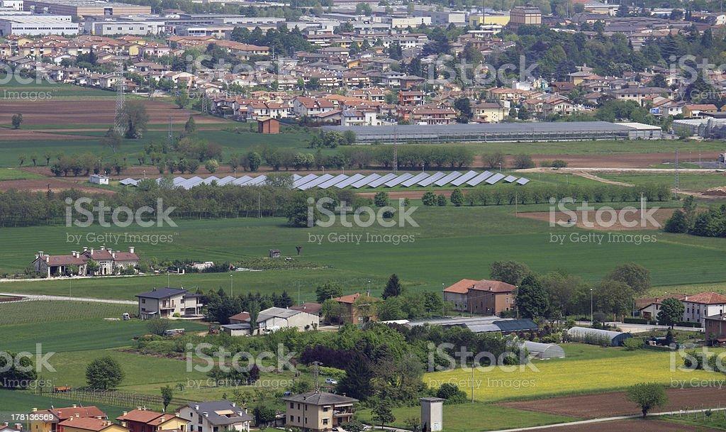 pianura padana in veneto with houses and fields stock photo