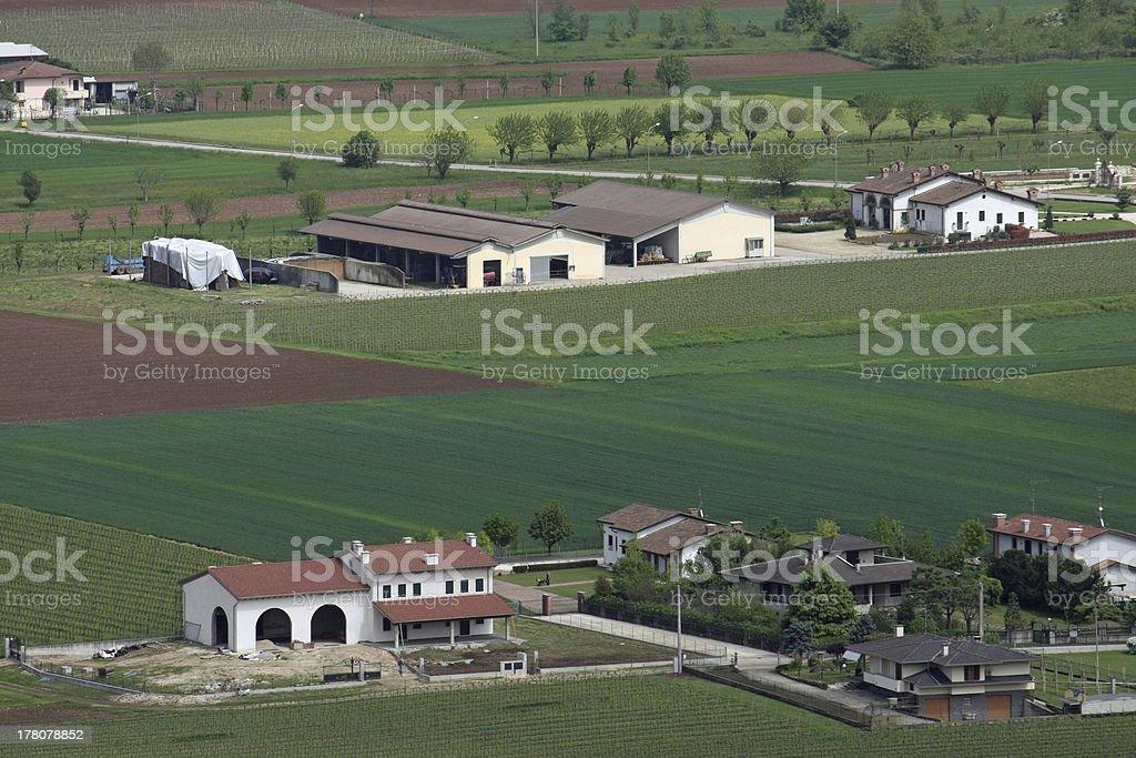 pianura padana in veneto with the citizens houses stock photo
