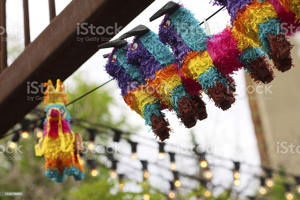 Piñatas on display stock photo