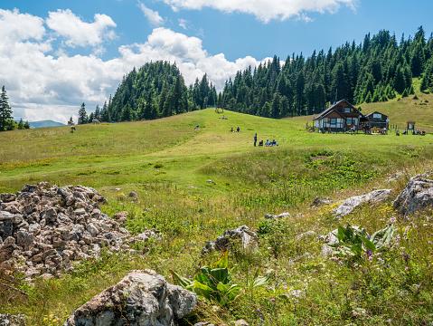 Predeal/Romania - 08.02.2020: Piatra Mare (Big Rock) chalet in Piatra Mare mountains part of the Carpathain Mountains, Romania.