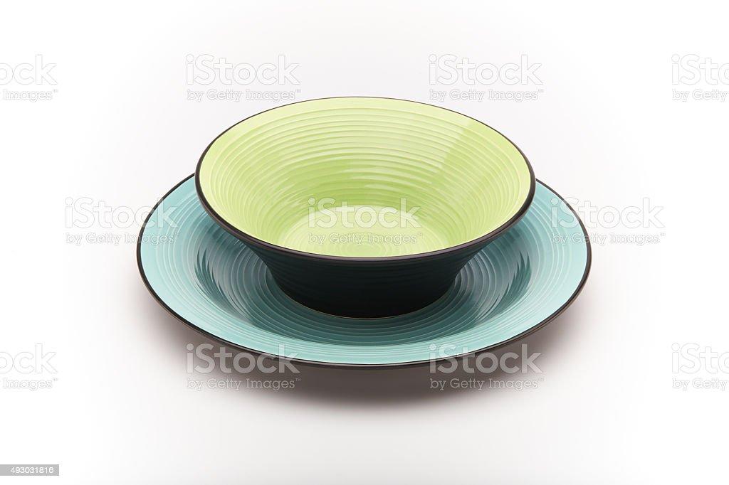 Piatto Ceramica Bianco.Piatti Colorati Verde Celeste Ceramica Sfondo Bianco Stock