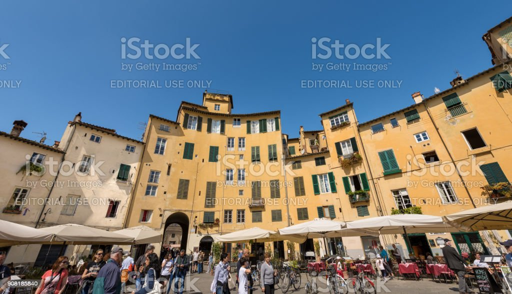 Piazza Anfiteatro - Amphitheater Square - Lucca Tuscany Italy stock photo