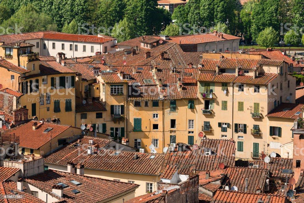 Piazza Anfiteatro - Lucca Tuscany Italy stock photo