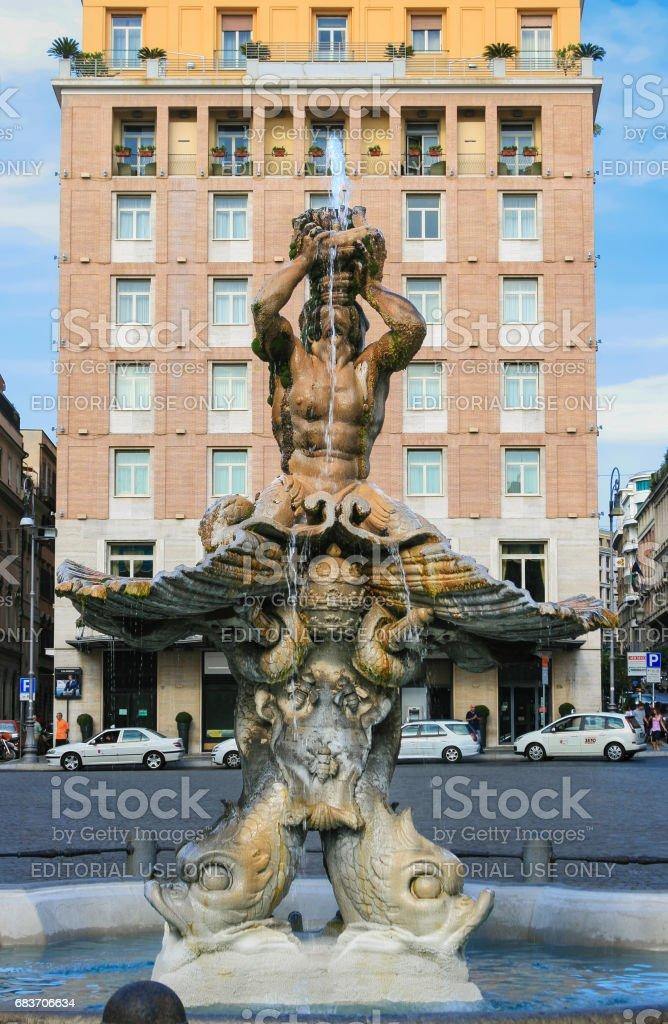 Piazza Barberini and Triton Fountain by Bernini, Rome, Italy. stock photo