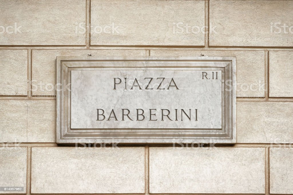 Piazza Barberini street sign on wall in Rome stock photo