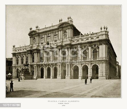 Antique Italian Photograph: Piazza Carlo Alberta Parliament Hall, Turin, Italy, 1893. Source: Original edition from my own archives. Copyright has expired on this artwork. Digitally restored.