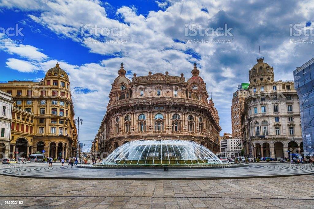 Piazza De Ferrari main square in Genoa stock photo