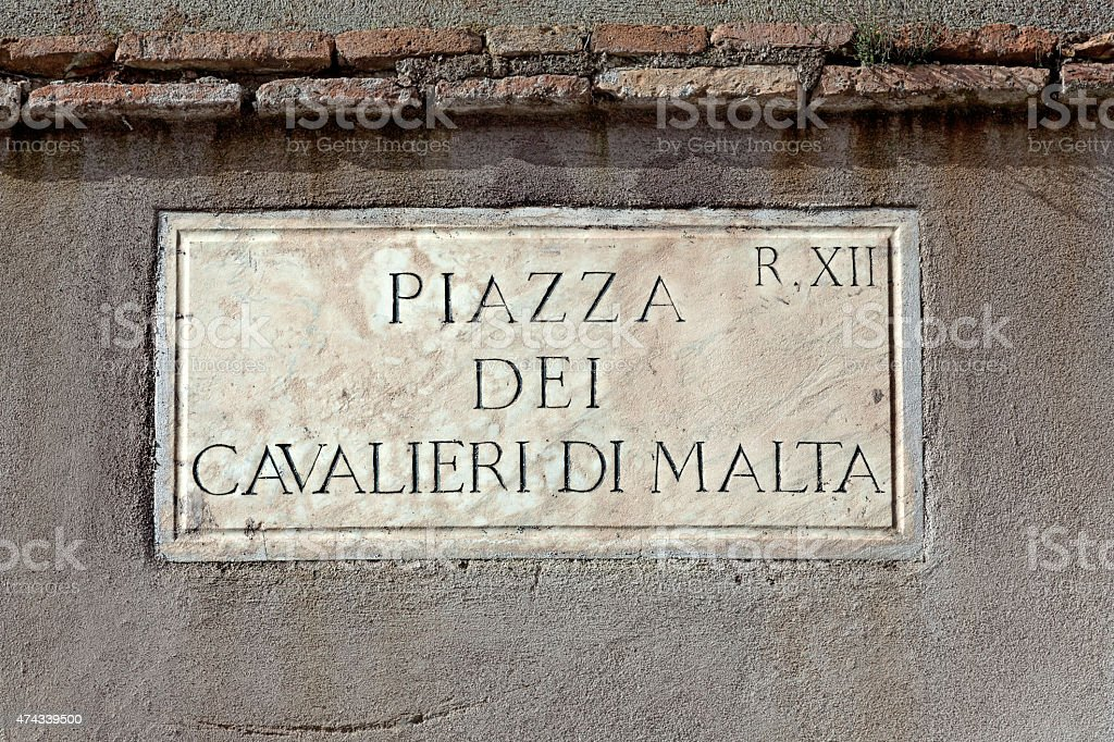 Piazza Dei Cavalieri Di Malta street sign in Rome, Italy stock photo