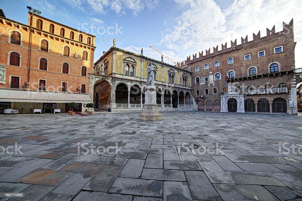 Piazza dei Signori at sunrise. Verona-Italy stock photo