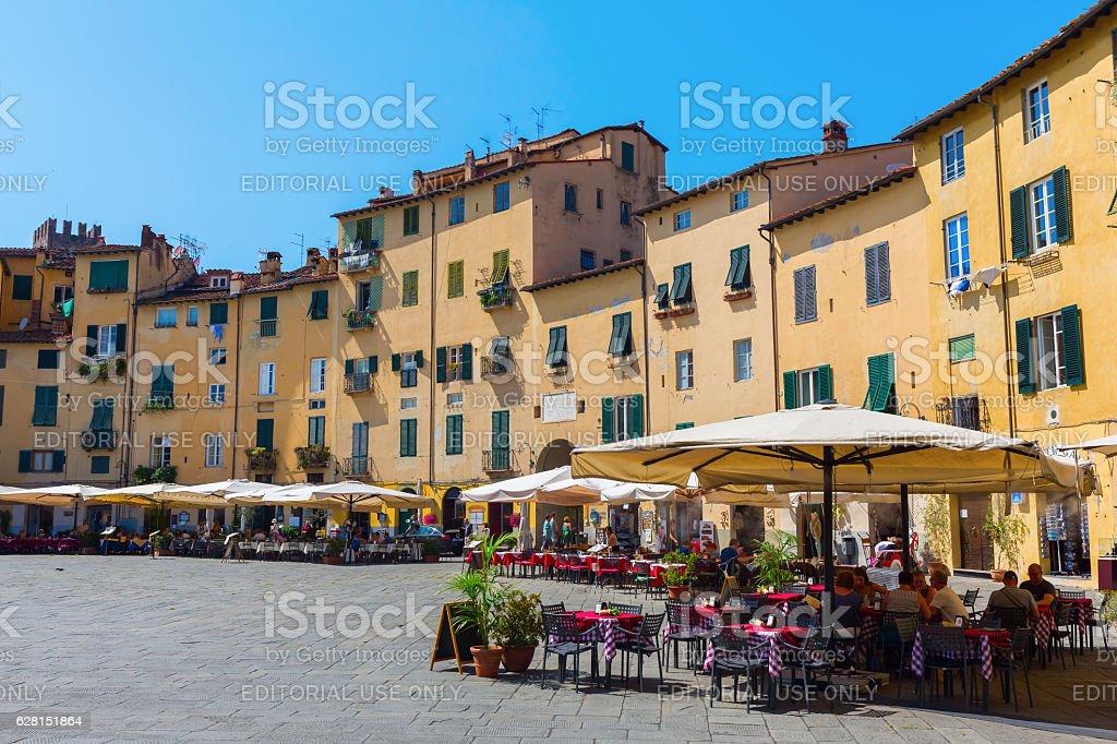 Piazza del Anfiteatro in Lucca, Italy stock photo