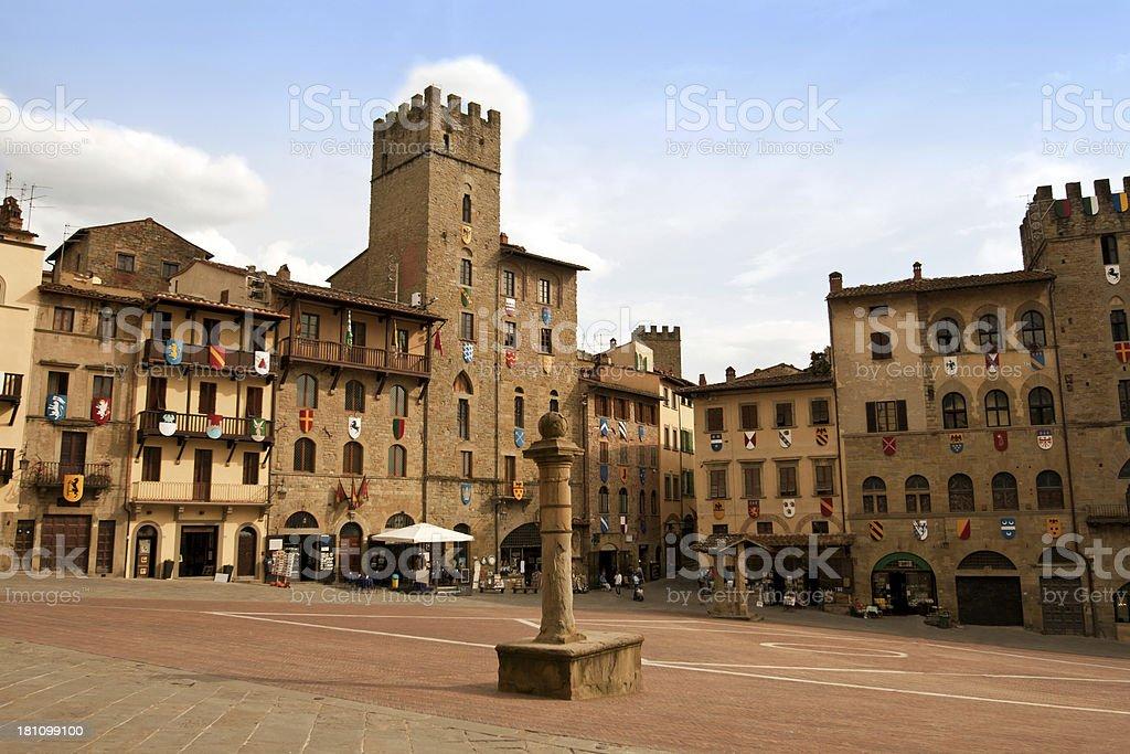 Piazza del Campo, ad Arezzo - foto stock