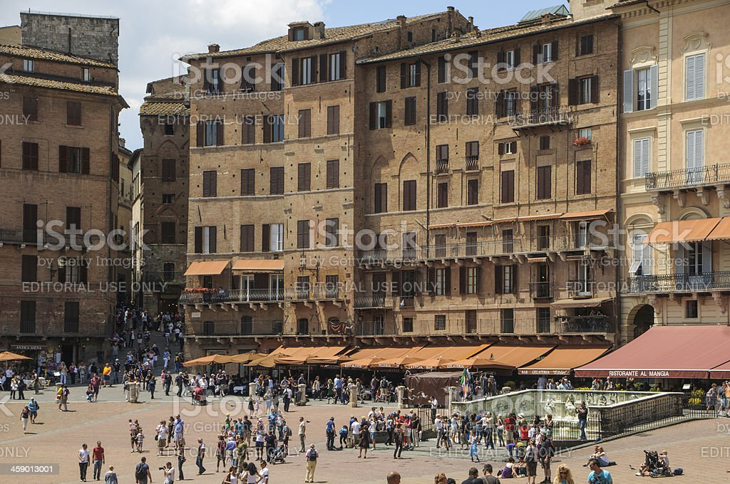 Piazza del Campo crowds royalty-free stock photo