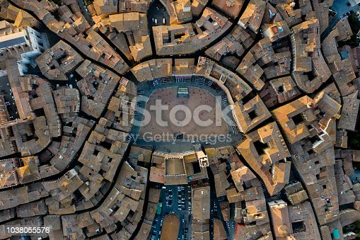 istock Piazza del Campo, Siena - Birds Eye View 1038055576