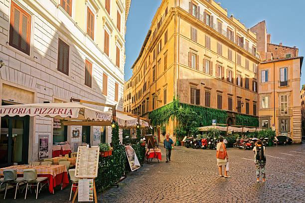 piazza del caprettari in rome italy - pizzeria stock photos and pictures