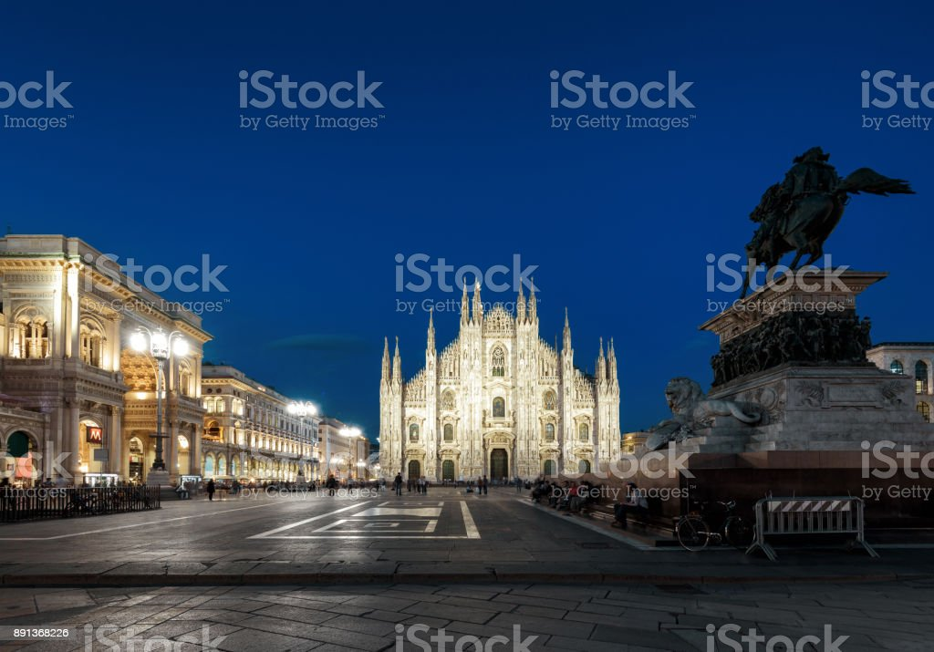 Piazza del Duomo at night in Milan, Italy stock photo