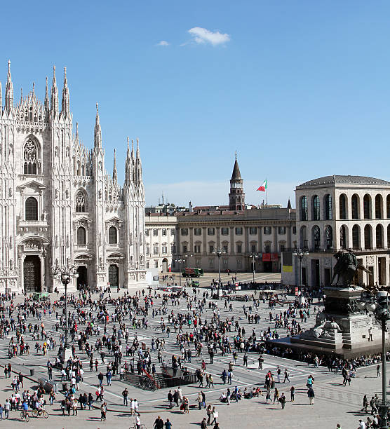 Piazza del Duomo from top stock photo