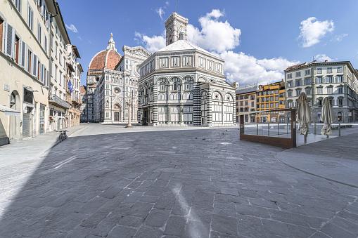 Piazza del Duomo in Florence, Italy, during Coronavirus lockdown