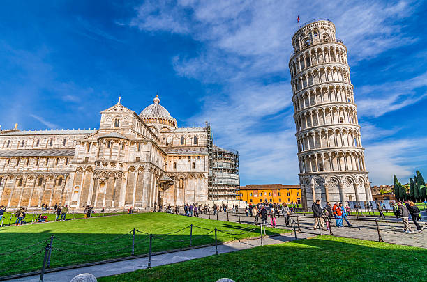 Piazza del Duomo Italy, Pisa, Piazza del Duomo - shot at the monuments in piazza del duomo where there is the famous leaning tower of Pisa florence italy stock pictures, royalty-free photos & images