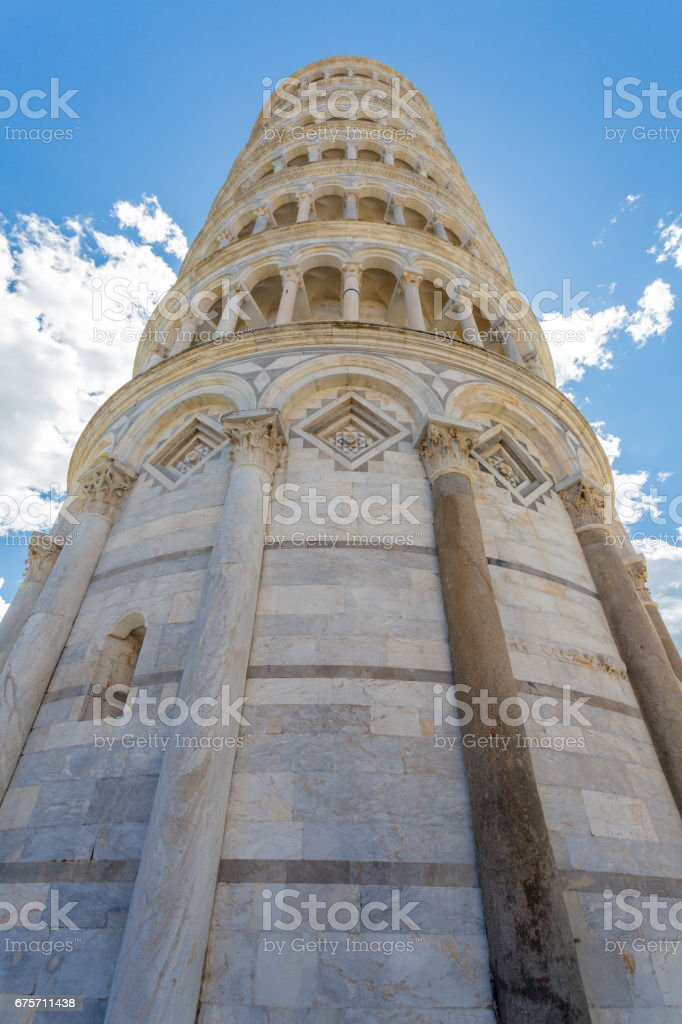 Piazza del Duomo with Leaning Tower in Pisa royalty-free stock photo